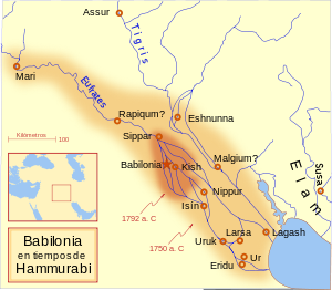 Mapa del Imperio paleobabilónico